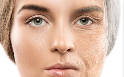 Rosto feminino divdido entre novo e envelhecido